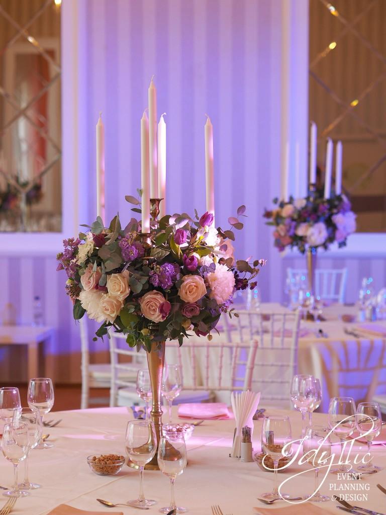 decor nunta eleganta sfesnic auriu