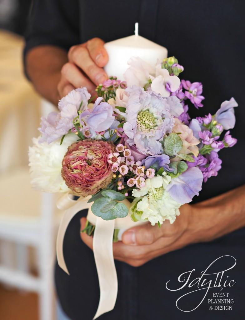 lumanare scurta design floral Idyllic