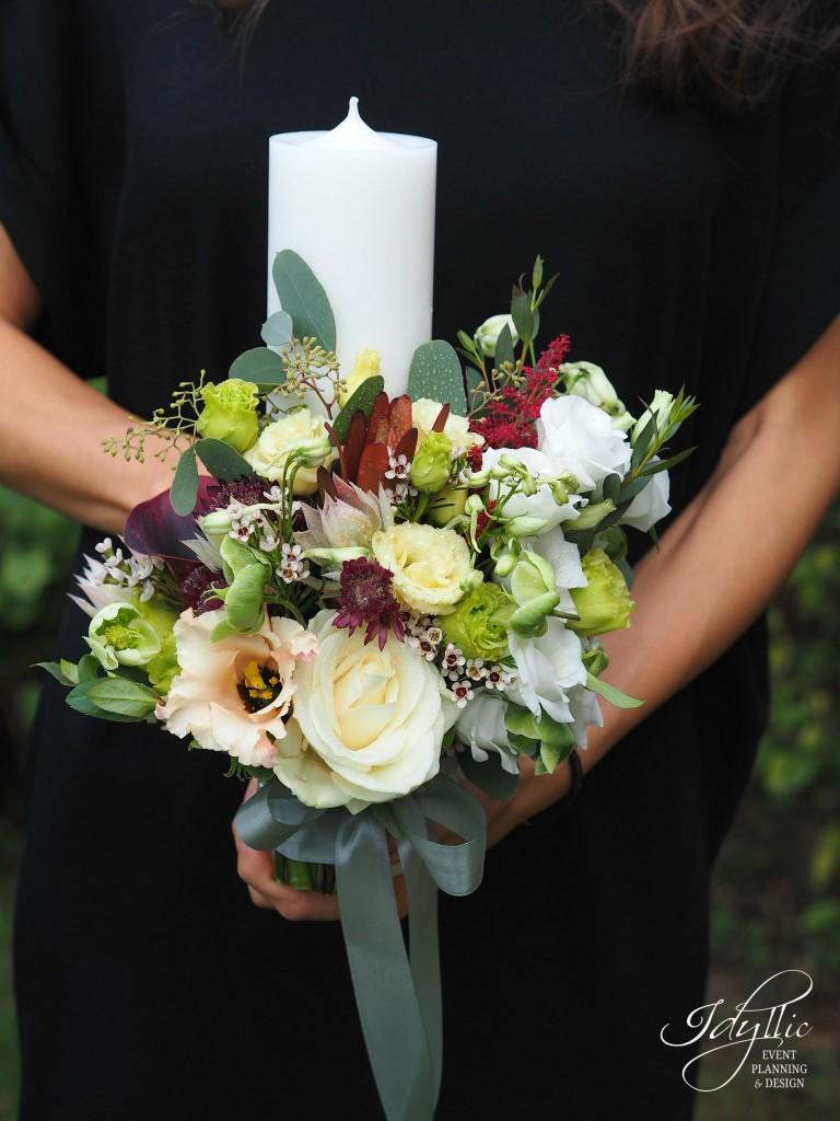Lumanari nunta design floral Idyllic